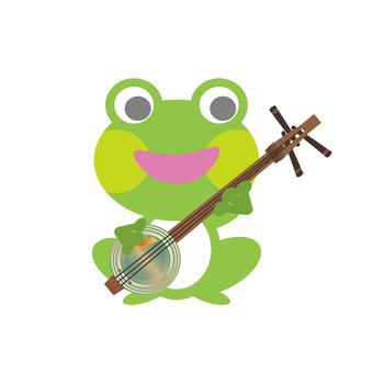 Frog playing Kankara three lines