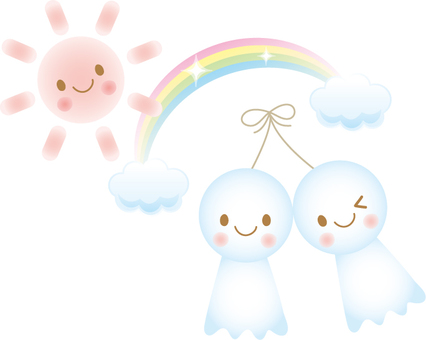 Teru Teru and sun and rainbow