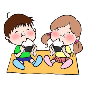 Children who eat rice balls