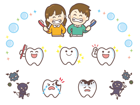 Different sets of teeth