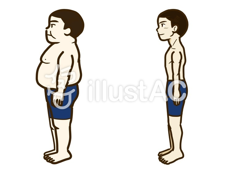 太った人痩せた人イラスト No 1171031無料イラストなら