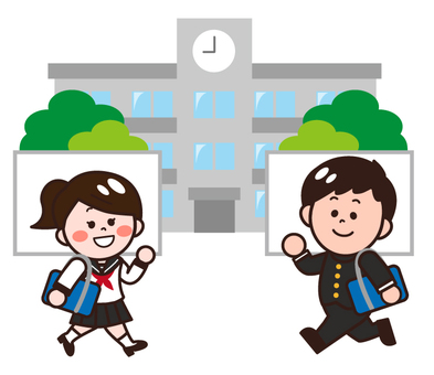 Students going to school (junior high and high school students)