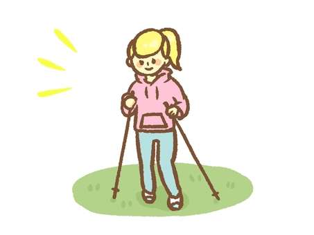A woman who walks Nordic walking