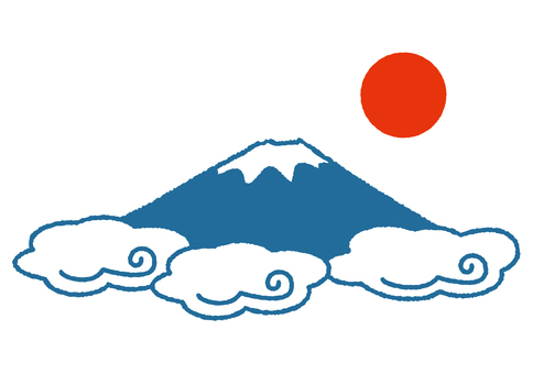 Mt. Fuji · cloud · solar stamp style