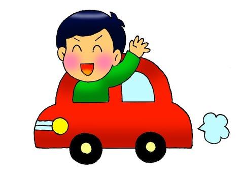 A boy riding a car