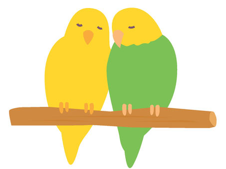 Two parakeets sleeping on a perch
