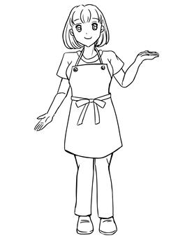 A woman wearing an apron to guide