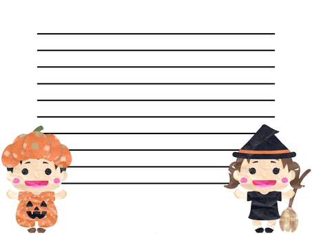 Halloween witch and jack lantern stationery