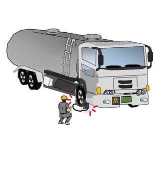 Carry tank lorry car, wheel stopper