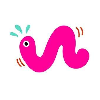 非常硬的粉红色蠕虫