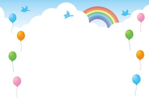Balloon, rainbow and blue bird frame