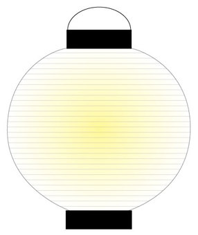 Round white lantern with light