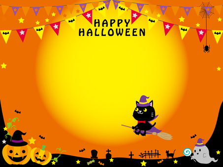 Halloween moon frame background