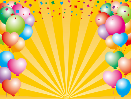 Balloon and confetti background material (yellow)