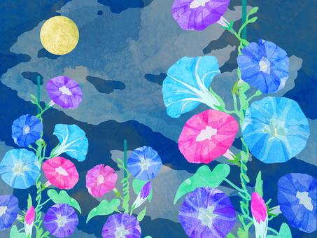 朝顔 壁紙 ⑱ 水彩