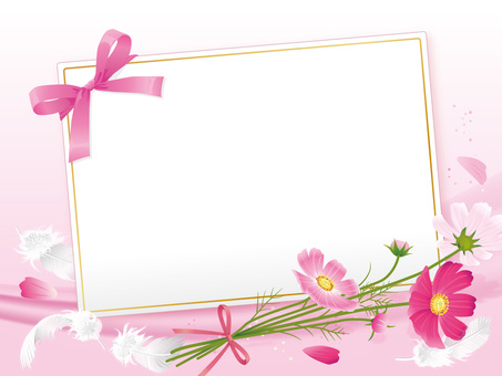 Ribbon card with cosmos 01