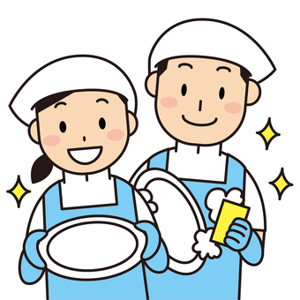 Dish-washing and cooking assistant staff