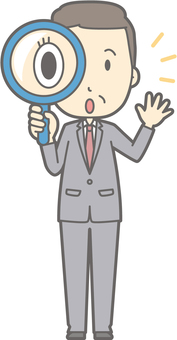 Middle-aged man suits - magnifying glass - whole body