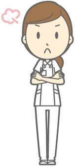 Female nurse - angry - whole body