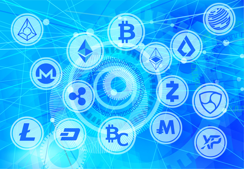 Various virtual currency and digital background material
