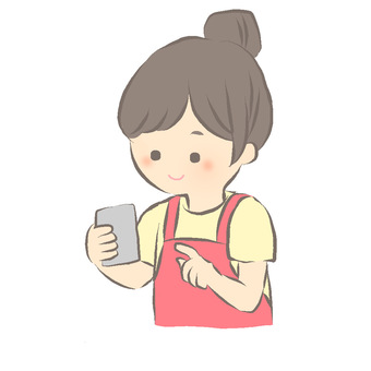 Housewife operating a smartphone
