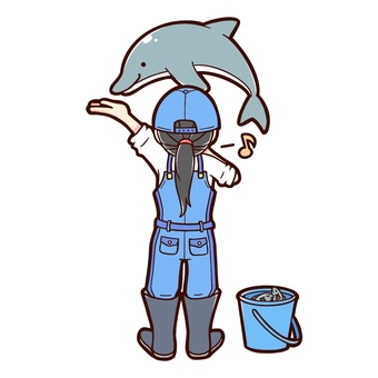 Aquarium dolphin and keeper