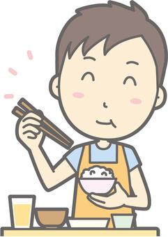 Nursery teacher - tasty Japanese food - bust