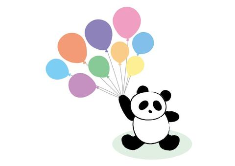 Panda, leaflet, balloon, title, material