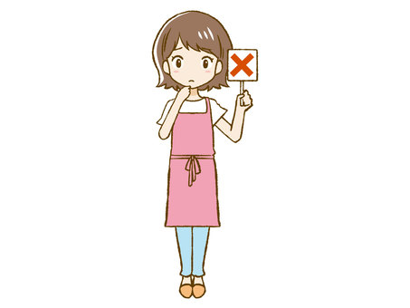 Apron woman giving a cross sign ②