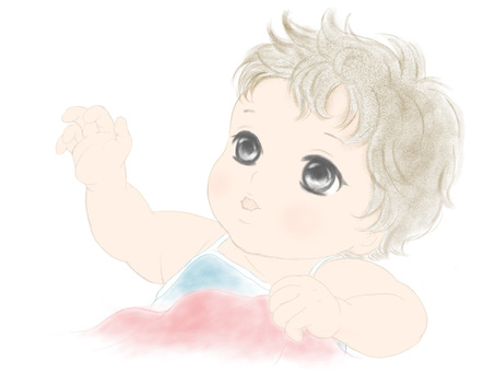 Baby up colored pencil