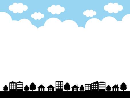 도시 거리 하늘 배경 검정