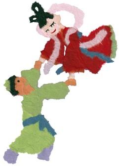 Orihime and Hikoboshi holding hands at Tanabata