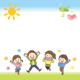 Kids jump background