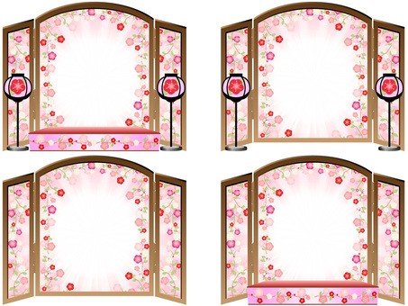 Hinamatsuri folding screen set