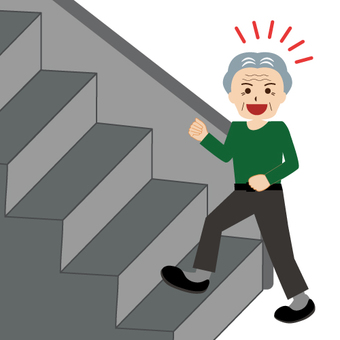 An old man climbing stairs cheerfully