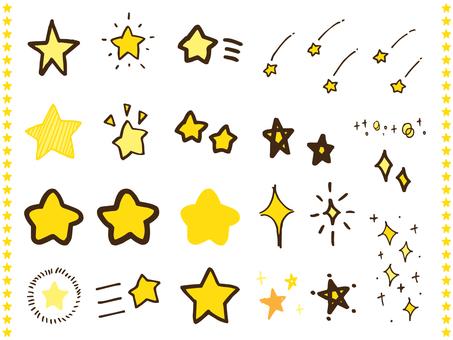 Handwritten cute star illustration set