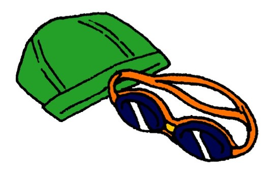 Swimming cap and goggles