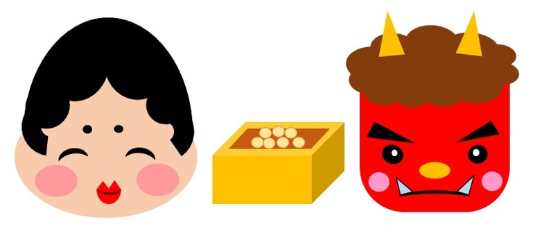 Setsubun Red Ogre and Fuku and Mame