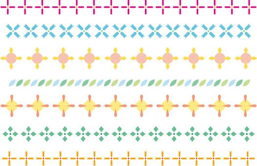 シンプルな飾り罫7 カラー