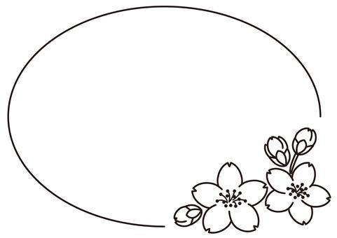 Cherry blossom frame material Black and white