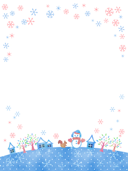 Winter frame snowman and snowy city (vertical)