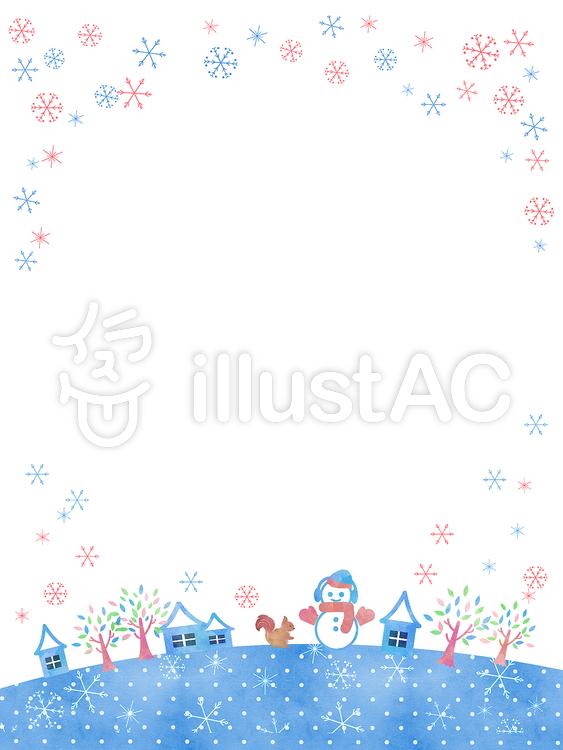 冬フレーム 雪だるまと雪の街 縦 イラスト No 無料イラストなら イラストac