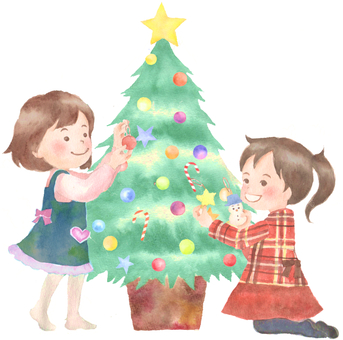 Children decorating the tree