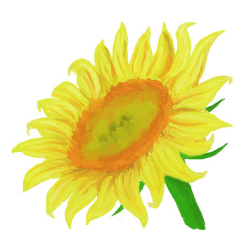 Sunflower oil painting wind