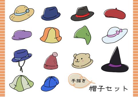 手描きのかわいい帽子セット
