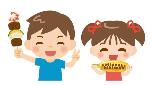 바베큐를 즐기는 아이