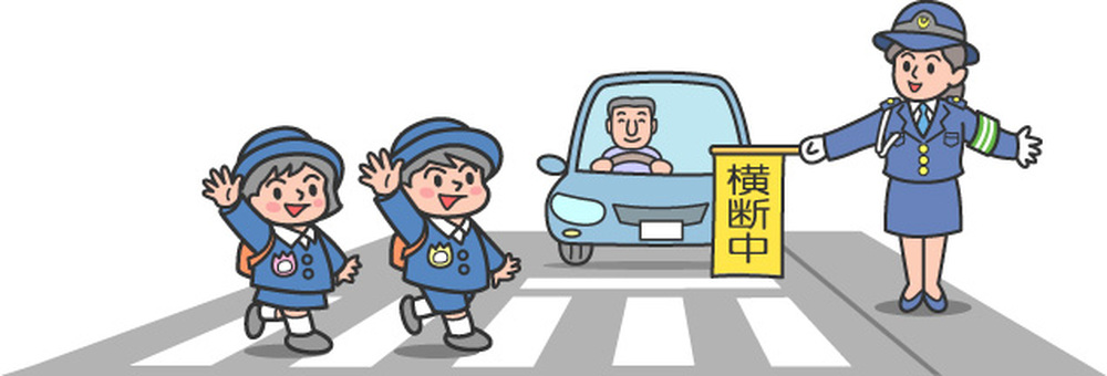 Pedestrian crossing kindergarten / woman police 2