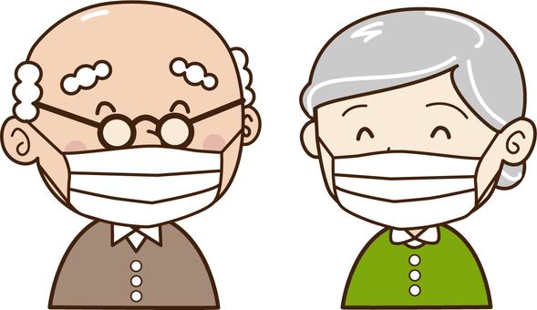 Elderly person-couple-smile-mask