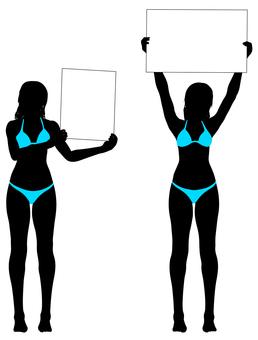 Silhouette of a bikini with a board _02