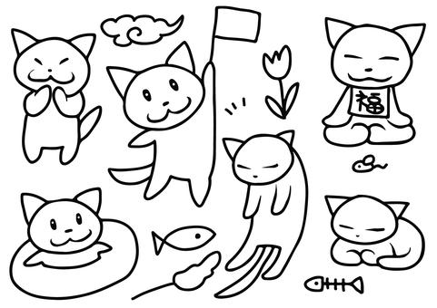 Hand drawn cat cut